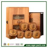 Caixa de chá de madeira esculpida personalizada personalizada