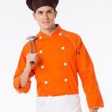 ロゴCustom100%Cottonの台所シェフのユニフォーム、総料理長のユニフォーム、シェフのコートのユニフォーム