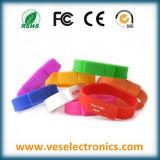 Promocional USB del regalo de silicona marca Pendrive Muñequera USB