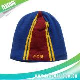 しまのあるロゴの刺繍(022)が付いているジャカードアクリルの帽子によって編まれる帽子