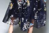 Dress de las fundas cortas de la playa del verano de la falda de señora grande Chiffon de largo impresa