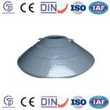 円錐形の粉砕機及び円錐形の凹面のふたのために凹面円錐形