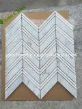 Teste padrão de mármore branco do mosaico de Chevron da telha da parede interior