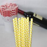 Paja de papel Checkered amarilla respetuosa del medio ambiente para el partido