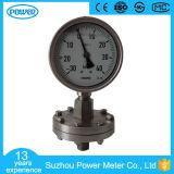calibres de pressão de diafragma enchidos líquido da baixa pressão de aço inoxidável de 100mm