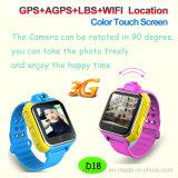 사진기를 가진 GPS 시계와 도움 (D18)를 위한 Sos가 3G 접촉 스크린에 의하여 농담을 한다