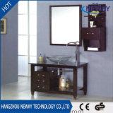Gabinete de vidro simples da vaidade do banheiro da madeira contínua de bacia de lavagem