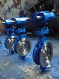 Двойным клапан-бабочка фланца усаженная металлом с пневматическим оператором
