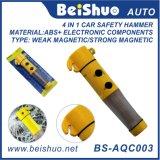 懐中電燈が付いている1つの自動車の安全性の緊急のハンマーに付き4つ