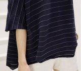卸し売り多彩な方法余暇は女性のための短い袖のTシャツを縞で飾る