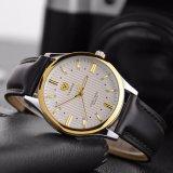 H357贅沢な高品質の本革の人の腕時計のスチール・ケースの背部水晶腕時計