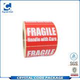 Etiqueta autoadhesiva frágil de la cáscara de huevo de la seguridad del diseño del OEM
