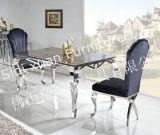 2015新式の熱い販売の大理石のステンレス鋼のダイニングテーブルの眺めの鋼鉄ダイニングテーブル
