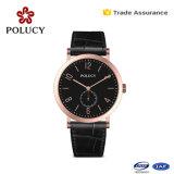 男女兼用の水晶腕時計のスチール・ケースの革腕時計をカスタマイズしなさい