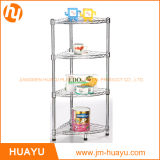 4-Shelf Chrome Bathroom Shelving, Wire Storage Rack, Corner Rack Shoe Rack (30L*30W*80H cm)
