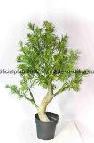 인공적인 녹색 식물 플라스틱 남비 나무