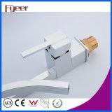 Fyeer Form-Entwurfs-Quadrat-hohes Karosserien-Chrom überzogener einzelner Griff-Messingbassin-Hahn-Wasser-Wannen-Mischer-Hahn Wasserhahn