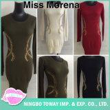 Women Black Fine Stitches Thin Knit Long Sweaters pour le printemps