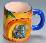 De creatieve 3D Stereoscopische Met de hand geschilderde Dierlijke Ceramische Mok van het Beeldverhaal