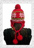 Шлем Beanie характера Китая связанный зимой с шариками анизотремуса для девушок (1-3505)