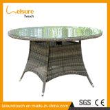 Tabella pranzante rotonda del giardino del patio del rattan esterno grigio della mobilia con vetro