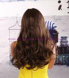 Perruque synthétique de cheveu de longue mode ondulée avec des coups