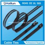 D tapent le serre-câble enduit par polyester d'acier inoxydable pour empaqueter des fils