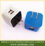저희 Smartphone를 위한 접히는 플러그 보편적인 이중 USB 이동할 수 있는 여행 충전기 5V 2A AC 접합기 충전기