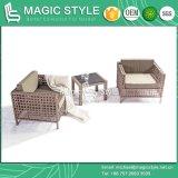 Sofá ajustado do lazer do sofá da atadura com mobília ao ar livre de tecelagem de tecelagem do jardim da mobília da mobília da tira ajustada do sofá da fita do coxim