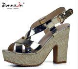 (Donna-в) сандалии женщин высокой пятки платформы коровы патента кожаный сотка