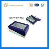 Rectángulo de regalo de empaquetado de papel de lujo de la alta calidad con una tapa (con espuma interna y la ventana del PVC)