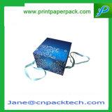 Rectángulo de empaquetado modificado para requisitos particulares del vino del plegamiento del regalo rígido del papel especial con la cinta