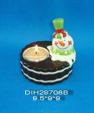 Hand-Painted Ceramic Snowman Tea Light Candleholder