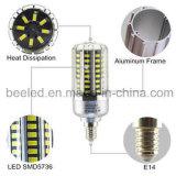 La luz E14 15W del maíz del LED refresca la lámpara de plata blanca del bulbo de la carrocería LED del color