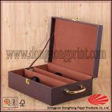 Caixa de vinhos Premium Faux Leather com logotipo e alça