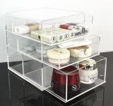 Organisateur acrylique clair de renivellement avec 3 tiroirs