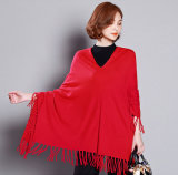 Mulheres Moda Viscose Knitted Winter Fringe Sweater Tee (YKY2058)