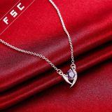 Het zilver plateerde de Purpere Halsband van de Daling van de Elementen Zirconial van het Hart Kubieke