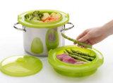 Nahrungsmittelgrad-Plastikplatin-Silikon-Nahrungsmitteldämpfender Korb/-behälter
