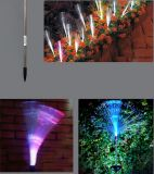 Luz solar de luz de fibra óptica de energia solar Mudança de cor RGB em terra para decoração de gramado de jardim ao ar livre