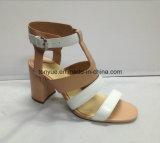 De Vrouwen Sandals van dame Kid Leahter Shoe Square Hiel