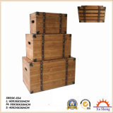 Conjunto de troncos de armazenamento de madeira natural Caixa de presente para sala de estar
