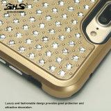 Samsung S7 가장자리를 위한 솔질된 줄무늬 Bling 돌 잡종 전화 상자