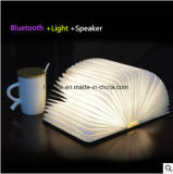 小型多彩な卓上スタンドLED木のBluetoothの本ライトスピーカー