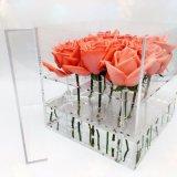 Rectángulo de regalo cristalino vendedor caliente del rectángulo de la flor del rectángulo de acrílico de Rose