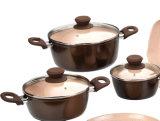 陶磁器の上塗を施してある造られたアルミニウム鍋および鍋の調理器具セット