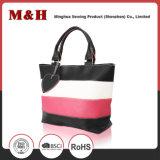 Bolsa Three-Color das senhoras de saco da compra do couro genuíno de grande capacidade da listra