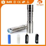 Lumière matérielle de torche d'Edison DEL d'acier inoxydable avec la batterie 18650