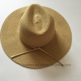 Sombrero de paja de papel Brimmed grande de las mujeres de la playa del verano (HW03)