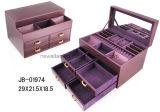 贅沢なハンドメイドデザイン良質PUの革紫色の宝石箱